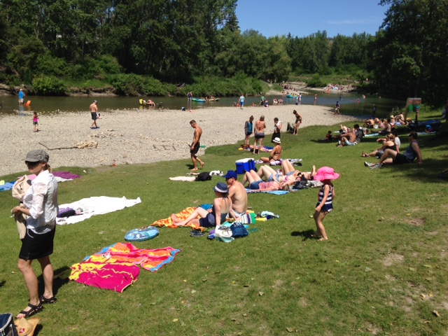 It would be nice to have a green beach right on the river like this one in Calgary's Stanley Park on the Elbow River.