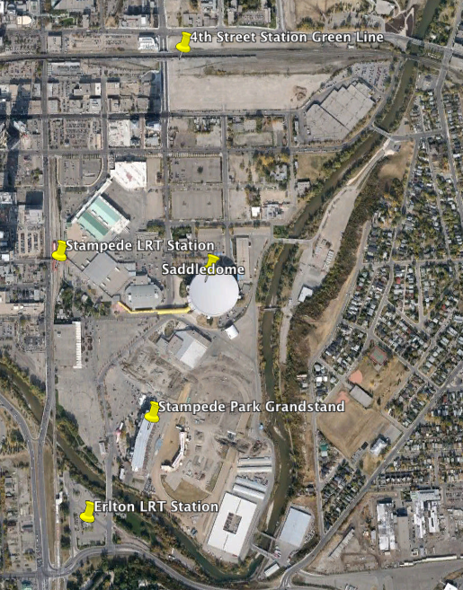 Google Earth image of Stampede Park with its current access to two LRT station and one future LRT station, as well as existing Saddledome and Grandstand/Stadium.