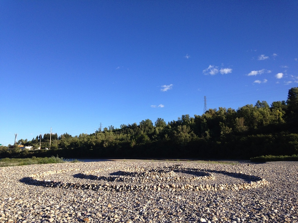 Bow River rock beach at Crowchild Trail is obviously a sanctuary for somebody.