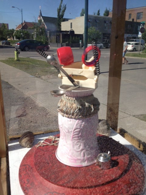 A street art display case in Bridgeland.