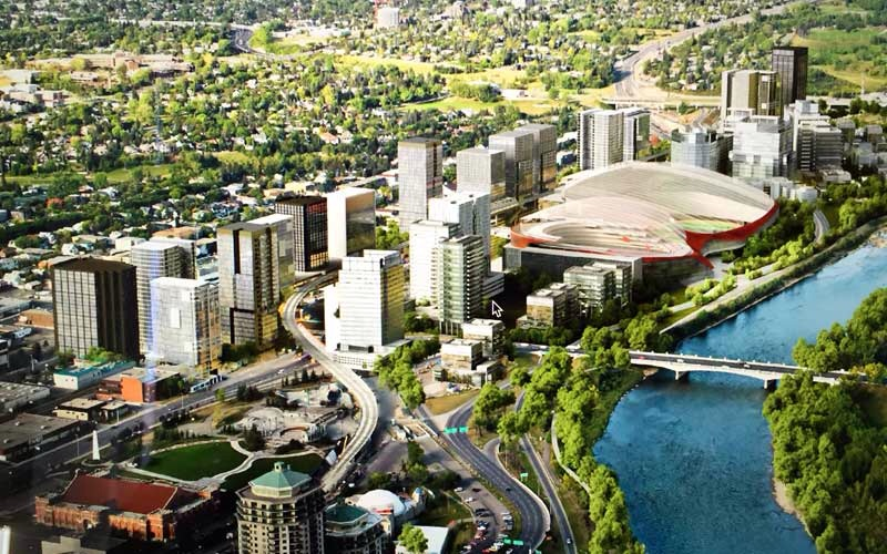 Conceptual rendering of proposed new arena, stadium and fieldhouse west of 14th Street bridge.