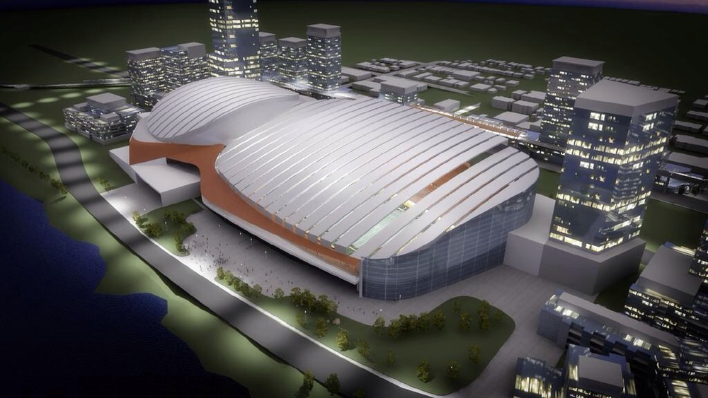 Conceptual rendering of how the arena and stadium will be under one roof.