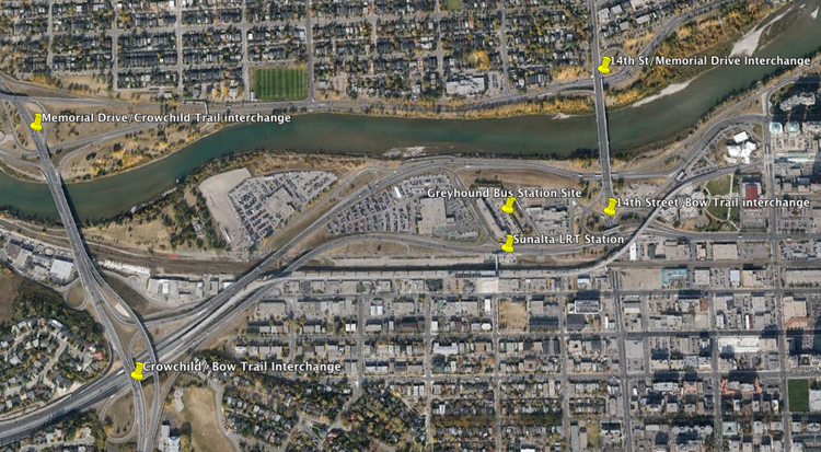 Google Earth image showing the four major interchanges that would have to be upgraded and the Sunalta LRT station. The Bow River and the Canadian Pacific Railway main line also make this a very difficult site for access and egress.