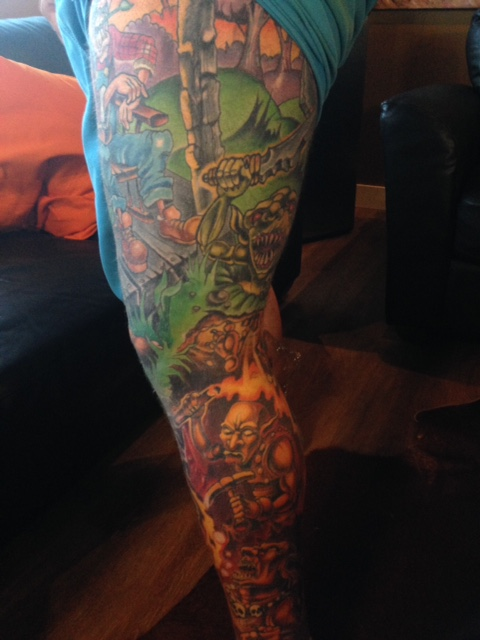 Close up of leg tattoo of client who was getting his other leg done.