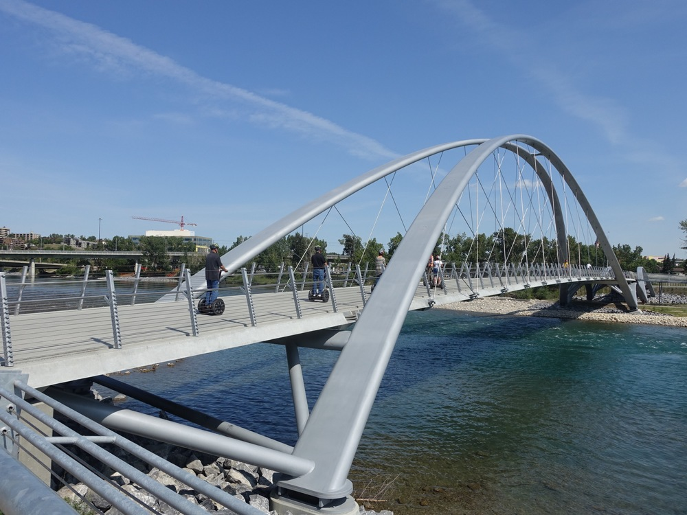 The new George King bridge links East Village to St. Patrick's Island which has been revitalized into an urban playground with elements like pebble beach.