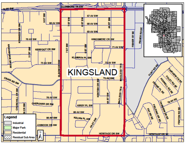 The boundaries of Kingsland are Glenmore Trail on the north, Heritage Drive on the south, Macleod Trail on the east and Elbow Drive on the west.