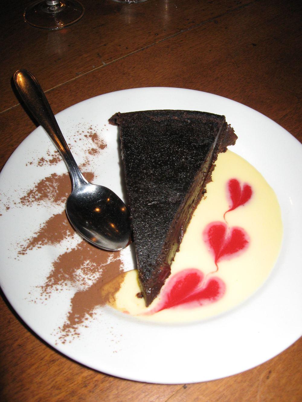 Decadent flourless chocolate cake in Lyon, France.