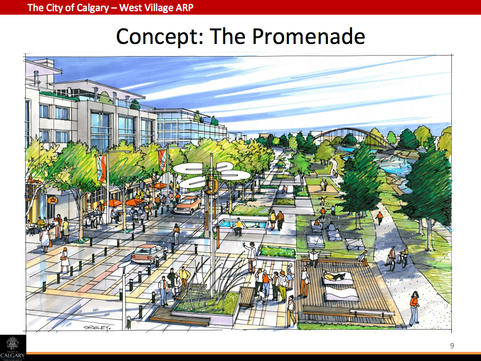 The proposed Promenade along the Bow River in West Village will function much like the River Walk in East Village as meeting place for new residents.