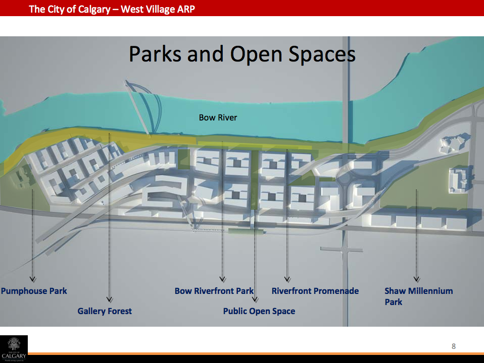 The City of Calgary's West Village Area Redevelopment Plan identifies numerous parks and public spaces as keys to creating an attractive liveable urban community in West Village.