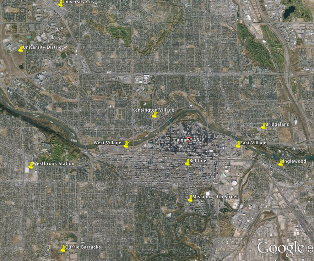 This Google Earth image illustrates he proximity of Calgary's 10 urban living (condominium) communities to each other.