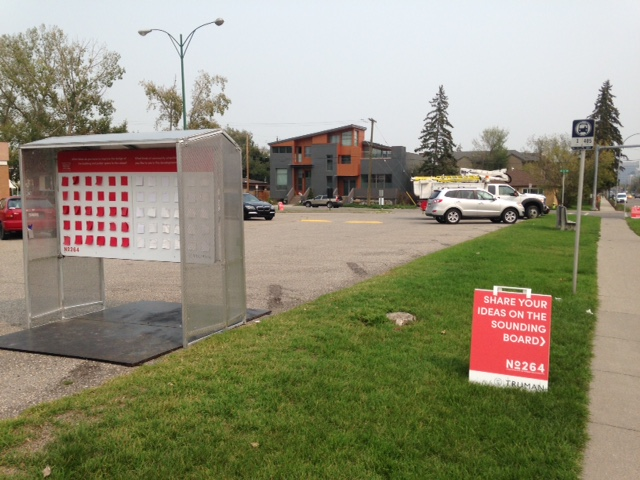 Temporary kiosk located at the Kensington Legion site next to sidewalk to allow neighbours to read about the project and provide comments.