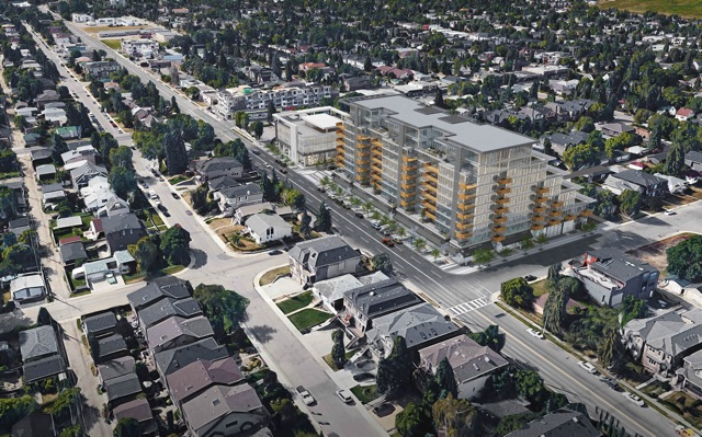 Looking northwest this rendering illustrates how the building relates with the community. Note the height of the building next to the homes on the north side is not any higher than a new large infill single family house.