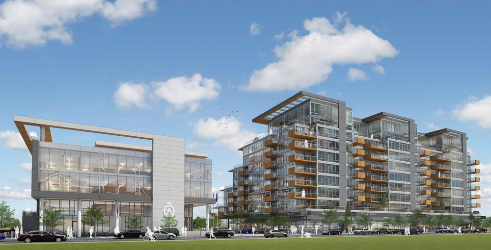 Conceptual rendering of the Kensington Legion site redevelopment, with the new Legion / Office Building on the left and the mixed-use condo building on the right. The design and materials create a unique sense of place and function as a gateway to West Hillhurst.