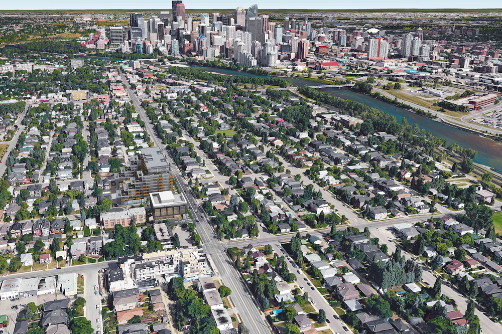 This rendering illustrates the sites proximity to downtown, Bow River and Kensington Village.