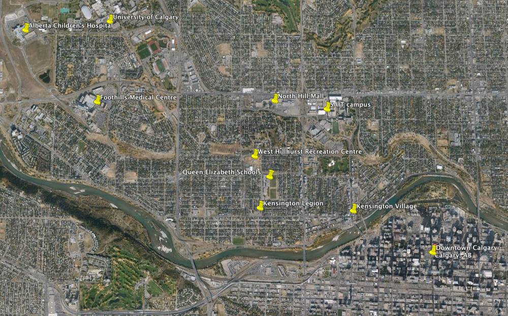 This Google Earth image illustrates the proximity of the Kensington Legion site to key employment centers and amenities.