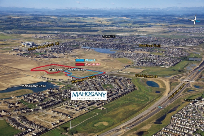 Aerial view of Mahogany community with its proximity to Highway 22X and Deerfoot Trail, as well as Seton community and new South Health Campus.