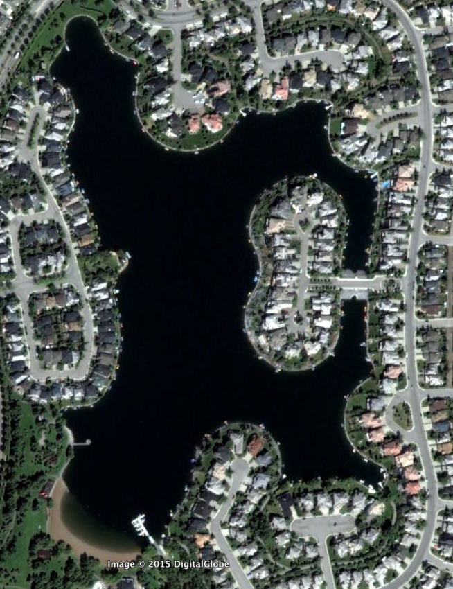 Google Earth image of McKenzie Lake a master planned community in Calgary's southeast quadrant.