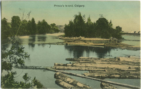 This postcard shows logs floating down the Bow River to St. Patrick's Island and the Eau Claire Lumber mill.