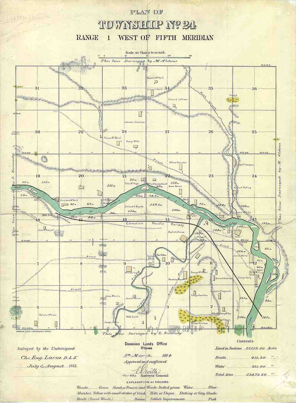 This 1883 map of Calgary documents several islands in the Bow River as it flows by downtown.
