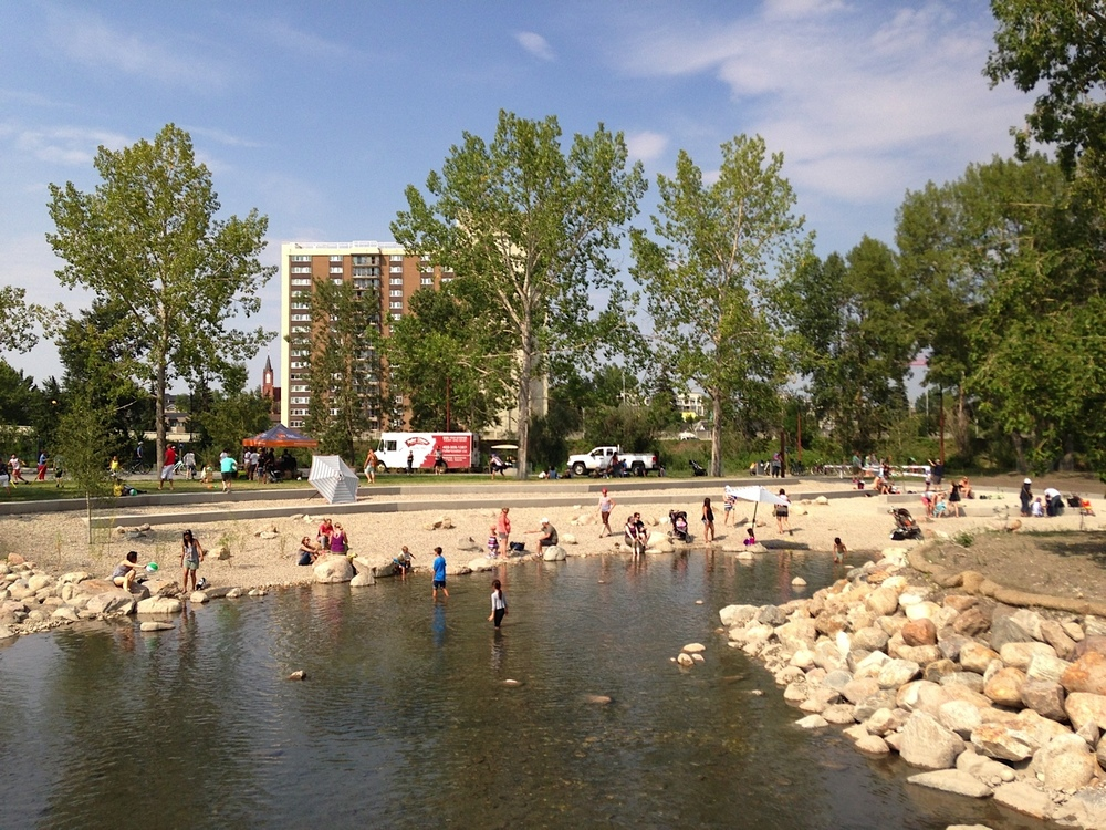 St. Patrick's Island's pebble beach is popular on a warm summer day.