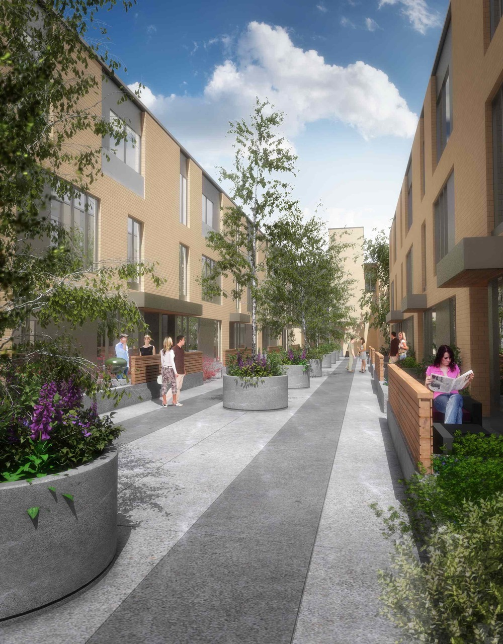 Rendering of the interior courtyard with its urban mews sense of place. (photo credit: Brookfield Residential)