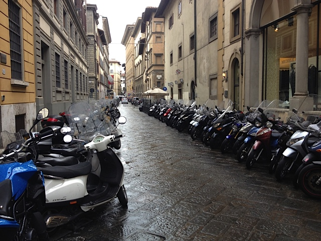 Instead of tree lined streets, Florence has motorcycle lined ones.