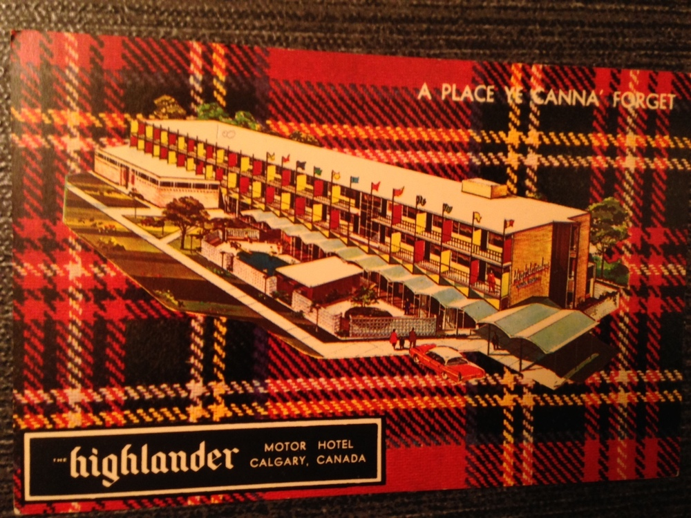 The Highlander Motor Hotel located on the Trans Canada Highway at 17th St NW provides ideal connections to Downtown, a multi-million dollar Shopping Centre, Jubilee Auditorium, McMahon Stadium and The University.  Today it is the site of the Home Depot.