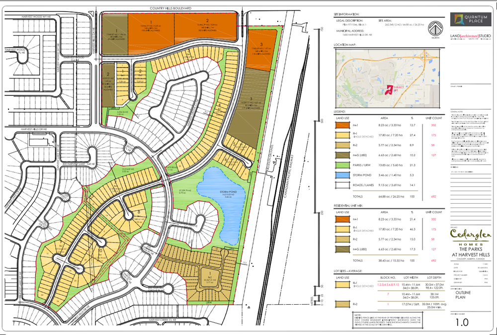 Outline Plan of the proposed Parks at Harvest Hills development.