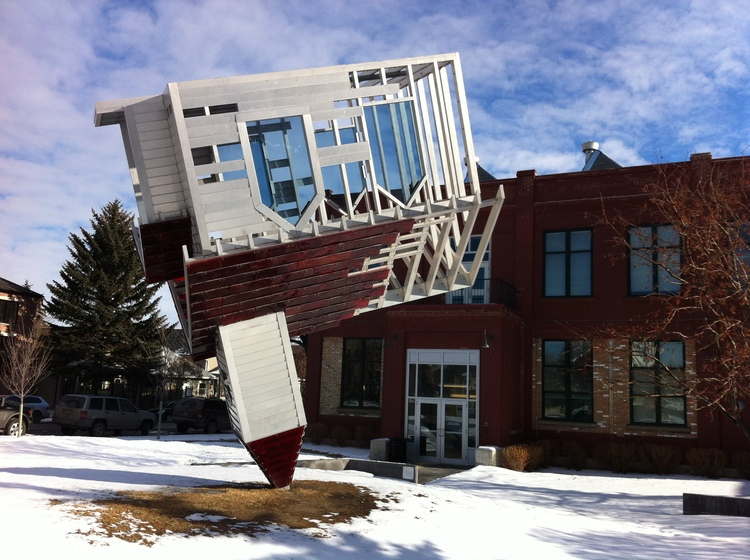 The Device to Root out Evil, by Dennis Oppenheim, formerly located at Ramsay Exchange building along 24th Ave. SE. was removed in 2014 after the lease expired.
