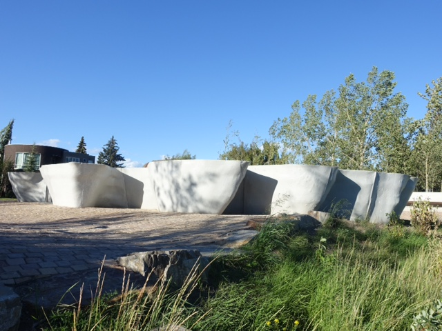 Outflow, by Brian Tolle is located along the north side of the Bow River Pathway at Parkdale Plaza.