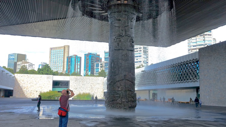 This single pillar not only holds up the entire canopy, but it serves as a powerful waterfall and relief sculpture. The museum is gracefully designed to enhance and respect the sense of place created by the artifacts. It is part of Mexico City's wonderful connectivity between the past and present.