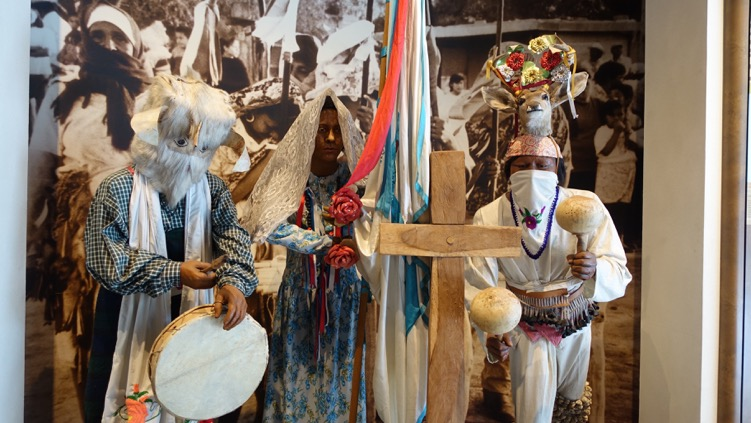 The upper floors of the museum showcase information on the diversity of indigenious cultures in different parts of Mexico.