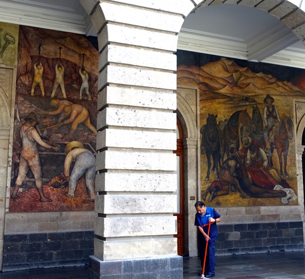 All of the walls of the building are covered with murals each telling a story of the lives and rich history of Mexico.