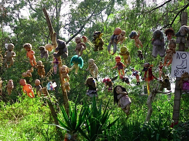 These dolls hanging from the trees and fences along the canal in various places make for a surreal experience.
