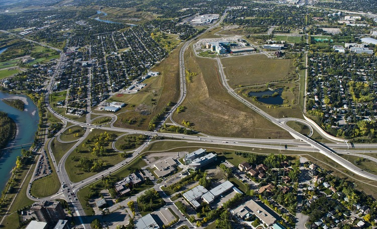 Aerial view of University District site on the west end of the University of Calgary campus, with the Alberta Children's hospital in the middle. (photo credit: Peak Aerials)