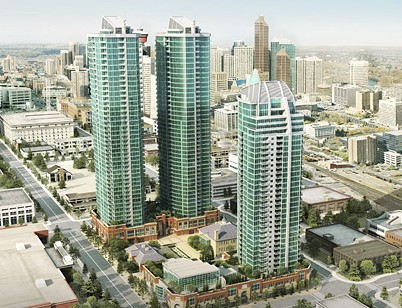 Rendering of the original plans for Arriva block that included three sister condo towers, renovations of two schools and a major public artwork.
