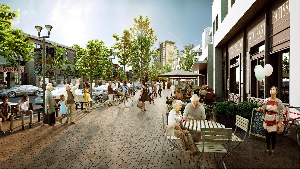 Rendering of proposed pedestrian street with shops and cafes that will at the heart of new University District urban village.