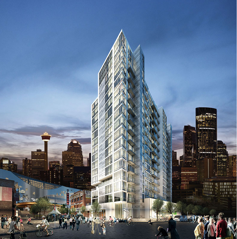 Rendering of N3 condo in Calgary's East Village that has no parking. I thought N3 stood for No Parking, No Problem, Nitwits, but was told it stands for New Attitude, New Vision, New Lifestyle.