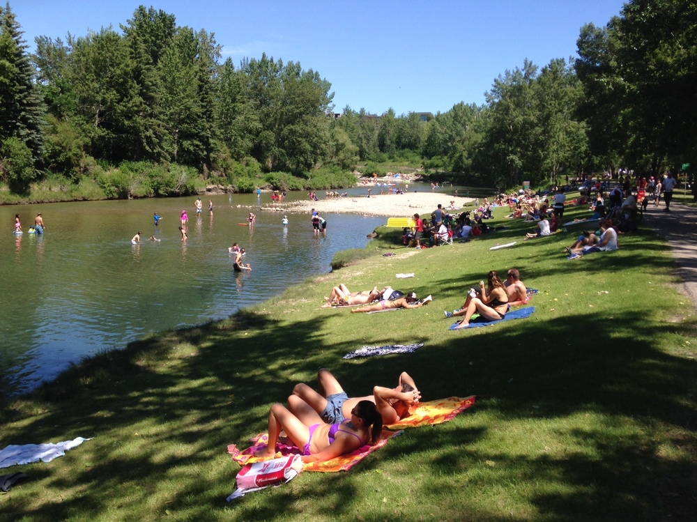 Found this lovely green beach along the Elbow River in Calgary's Stanley Park community.