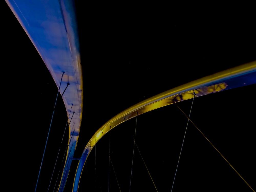 """Strange Reflections"" (pedestrian bridge, East Village, Calgary)"