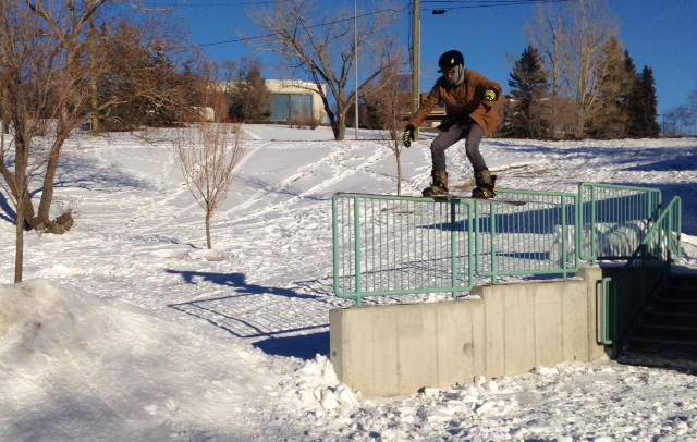 Snowboarding near 14th Street across from the Jubilee Theatre. Another hidden gem playground.