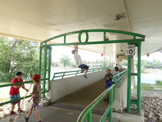 Who needs a playground when you can play under the LRT bridge in Eau Claire?