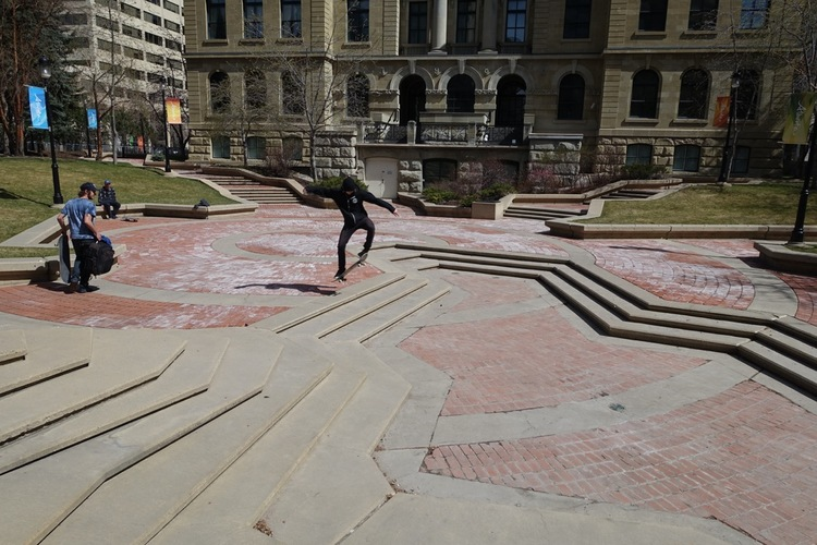 The plaza behind the McDougall Centre makes for a great skateboard park. These guys travelled all the way from Edmonton to check out downtown Calgary's hot skating spots.
