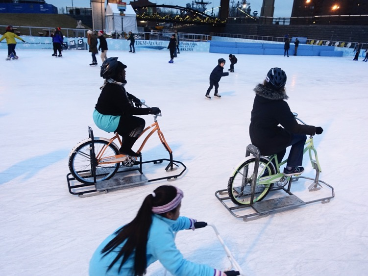 Chris: The kids would love these bikes.  Buffalo is a great winter city. Everyone loves ice biking at Buffalo's Canalside skating rink - the size of three NHL rinks. They even have a Tim Hortons' across the street. R