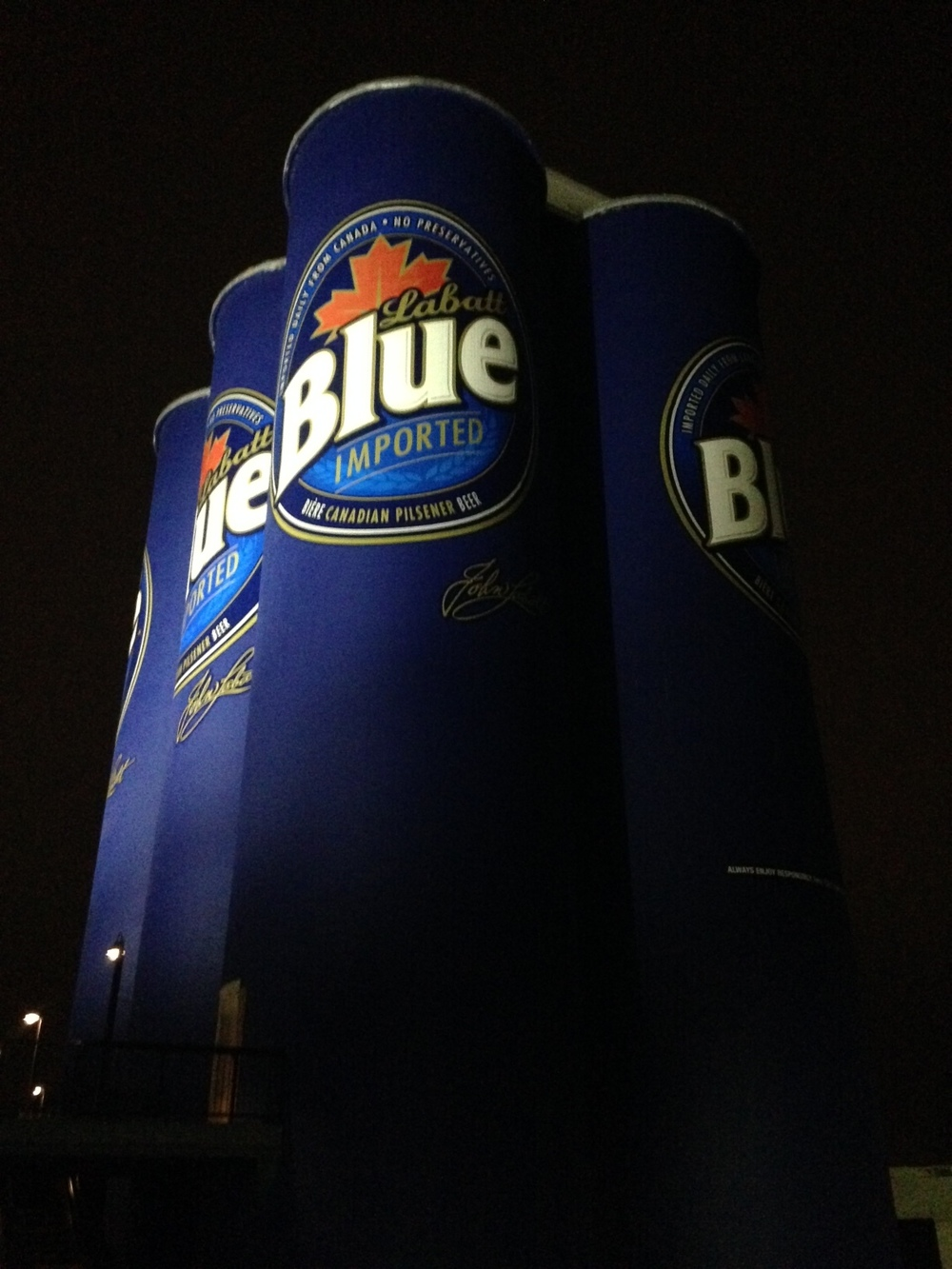 Knox: Now this is a drink!These Labatt Blue Cans are abandoned grain elevator silos 10 storeys tall and are part of Riverworks sports oriented entertainment complex. RW