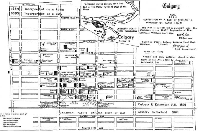historic map Calgary