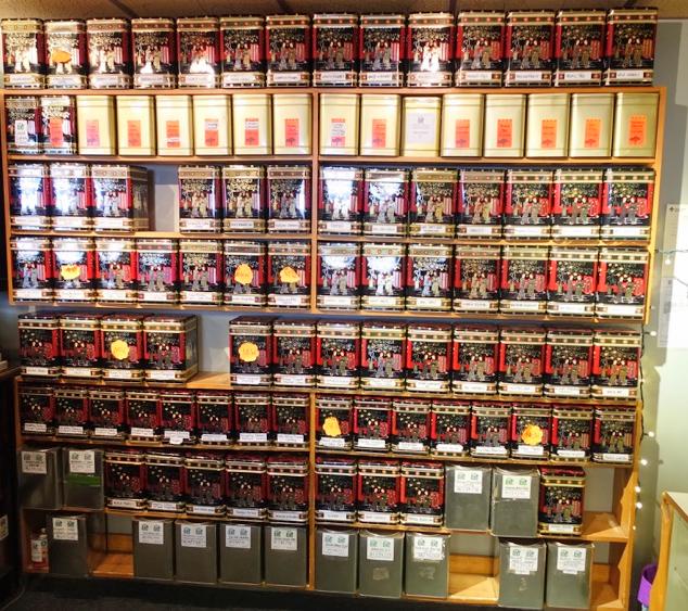 The wall of teas is impressive.