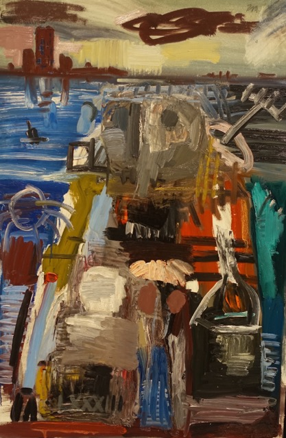 """Ronald Moppett, """"Father Thames II (study), 1983, oil on panel. Does anybody else see the bird-like figure in the painting that looks strangely similar to the one Hardy created in his exhibition (see photo above)."""