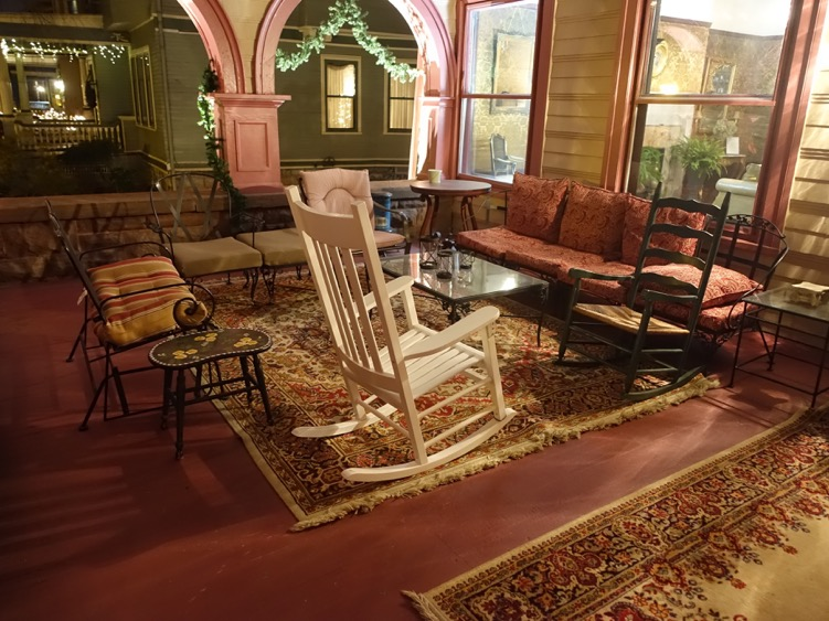 The front porch of Inn Buffalo was inviting even in early January. The entire mansion was a walk back in time.
