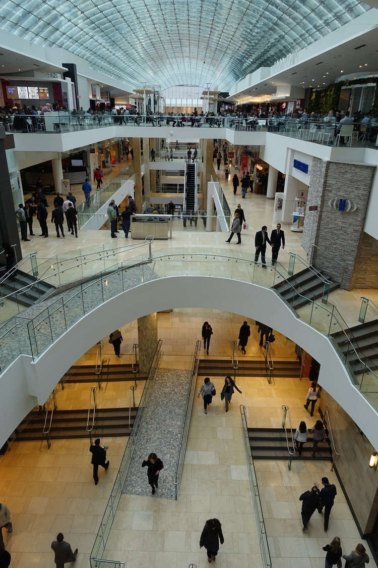 Calgary's The Core shopping centre, renovated in 2010 boasts a 656 foot long point-supported glass skylight that is the longest in the world.